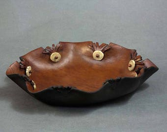 Brown leather blessing bowl with antler, bead and fringe accents No. 2507