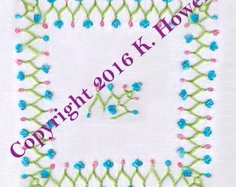 Flower Vine Hand Embroidery Pattern, Border, Flower, Vine, Frame, Edge, Edging, PDF