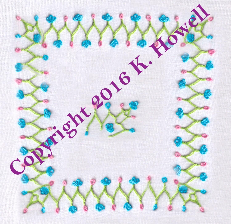 Flower vine hand embroidery pattern border
