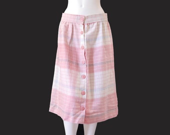 Vintage Pink and White Plaid Midi Skirt //Pale Pink Pastel  Skirt // Pink Buttons Skirt// 123