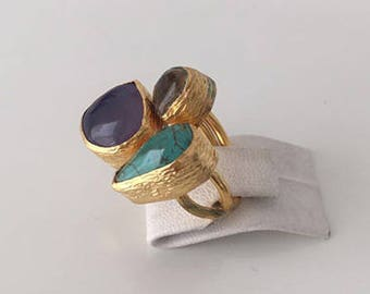 Triple Gold plated  Turquoise, Yellow topaz  and  Chalchedony  ring