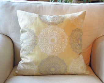 Fantasia Pillow Cover, Cushion Cover, Yellow, Grey, Linen, 18x18, Decorative Throw Pillow