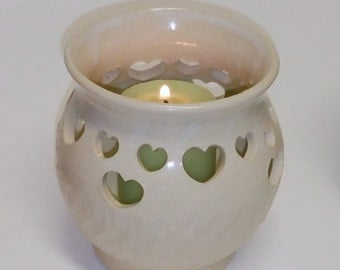 Off White Votive Candle Holder Luminary with Heart Cut Outs - Wheel Thrown Pottery