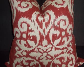 Custom Ikat pillow cover Red and Tan