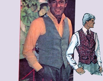 Vintage 1970s Mens Buttoned Vest Designer John Weitz Sewing Pattern McCalls 5838 Vintage 70s Sewing Patterns Size Chest 42 UNCUT