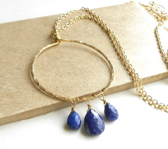 Long Gold Necklace, Hammered Brass Circle Pendant, Lapis Lazuli Boho Necklace, Bohemian Jewelry