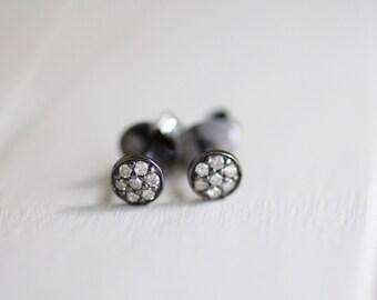 SALE: Diamond Stud Earrings. Black Sterling Silver Oxidized Pave Diamond Studs