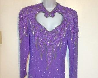 80s Purple Formal  Dress Purple Dress Size 14 Full Length Formal