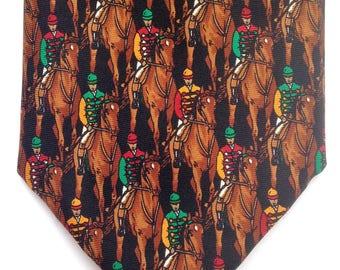 Horse Derby Keeneland Necktie jockey on racing horse Silk Necktie made in the USA