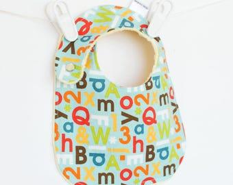 Baby Boy Bib, Adjustable Bib with Minky in School Days Alphabet