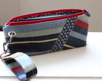 Zipper Pouch Clutch Wallet - Long Wallet - Cell Phone Wallet - Errand Runner Fabric Wallet Wristlet - Travel - Blue Red Stripes