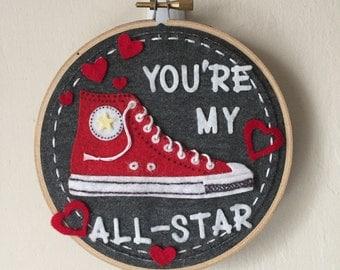 My All-Star - Felt Hoop Art