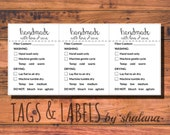 "Care Instruction Printable PDF Cards  - ""handmade with love and care"" Labels or Tags for your Handmade Products - Great for Craft Shows"