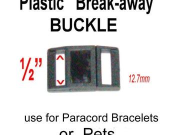 20 Buckles - BREAK AWAY, 1/2 inch - SAFE Collar Buckle, Polyacetal Plastic, Non adjusting, 12.7mm