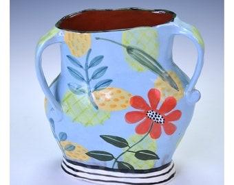 Blue Vase, Floral, Leaf