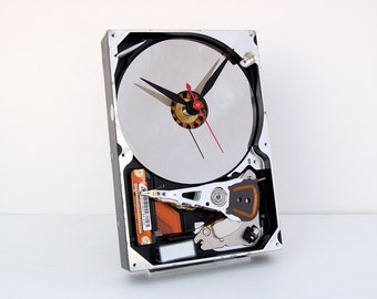 Computer parts clock, hard drive clock, Geek clock gift, upcycled,  geek lovers gift, Recycled Computer Hard Drive Clock, steampunk clock