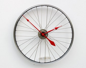 Bicycle Wall Clock, Large Wall Clock, Bike Wheel Clock, Cyclist Gift, Unique Wedding Gift, Steampunk Decor, Modern Wall Clock, recycled gift