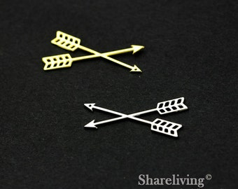 Exclusive - 4pcs High Quality Silver / Gold Plated Brass  Cross arrow Charm / Pendant, Fit For Necklace, Earring, Brooch