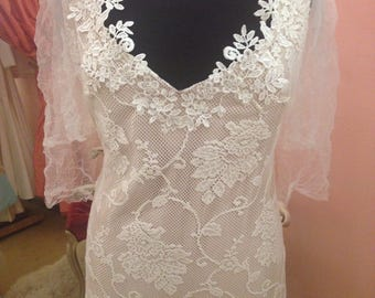 Vintage Lace Wedding Dress/One of a Kind Wedding Dress/Ethereal Wedding Gown/Alternative Wedding Gown/XL Wedding Gown