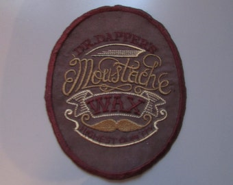 Dr Dappers Moustache Wax Faux Suede Sew on Patch  Applique Steampunk
