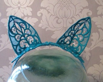 Teal Embroidered Lace Cat Ears Headband with Diamantes