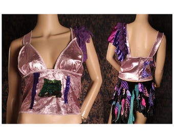 Shabby Chic Tank Top, Boho halter top, Metallic Purple Velvet shirt, Glam Metal Crop top, Festival Fashion, Mori Girl, Steampunk, Gothic