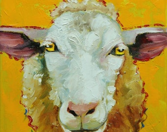 Sheep painting 27 12x12 inch original oil painting by Roz
