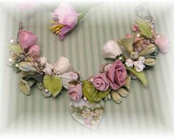 Broken China Bracelet - Bridal Jewelry -  Bracelet - Charm Bracelet - Handmade Bracelet - Cold Porcelain Flower Bracelet - Lampwork Bracelet