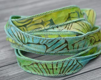 ISLAND LIFE Batik Ribbon Sold By the Yard, Hand Dyed Ribbon, Dyed in Bali, Hand Sewn Aqua Blue, Green Bracelet Wraps, Jewelry Craft Ribbons