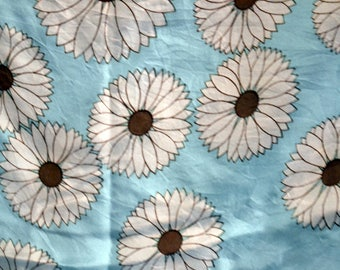 Vintage Silk Scarf Brown and White Daisies on Light Blue by Marguerite 22 inch Square Scarf