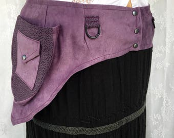 Desert festival pocket belt - plus size utility belt - purple utility belt - recycled fabric pocket belt - vegan pocket belt - Extra Large