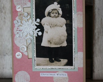 Christmas Wishes Collage Christmas card,handmade card,collage card,vintage image card