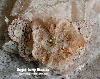 Sweet Treasures HANDMADE Crochet Bib Necklace with rosary beads and handmade flower