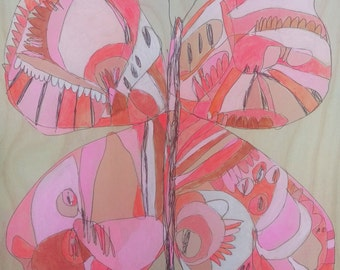 Shocker Butterfly ORIGINAL Jennifer Mercede Painting on wood 12x12in