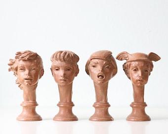 Vintage Fred Press Studio Busts, set of 4, Mod Mid Century Modern Statues