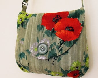 Crossbody bag with adjustable strap, red and green flowers vintage fabric