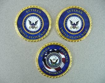NAVY Retired Veteran Challenge Coin Retirement Retired Custom Personalized Memorial Coin Name Rank Military Gift