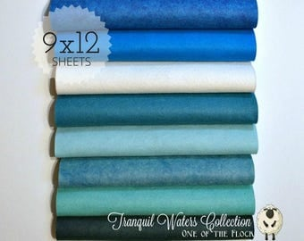 NEW *** Tranquil Waters Collection, Wool Blend Felt, Wool Felt Sheets, Wool Felt Fabric, Felt Fabric Bundle, Wool Felt Bundles Collections