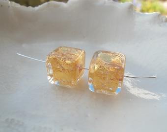 Gold Murano Glass Cube Beads
