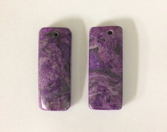 Pair Purple Crazy Lace Agate pendant beads