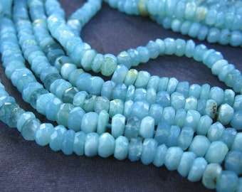 Blue Peruvian Opal stone beads faceted rondelles - 6 1/2 inches - 4mm X 3mm
