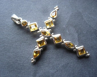 Huge Solid Sterling Silver and Faceted Citrine Cross - 2 1/8 inches X 1 3/8 inches