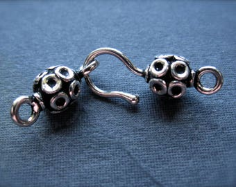 Solid Sterling Silver hook and eye clasp bali style small