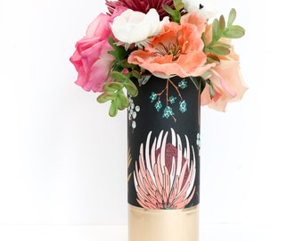 Black, Peach, and Pink Floral Pattern Wrapped Flower Vase With Rose Gold Base - Flower Vase