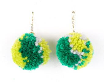 Pom Pom Earrings - Multi Color Green Yarn Pom Pom Earrings with Gold Ear Hooks