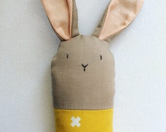Brown and Yellow Bunny Rattle - Soft Baby Toy