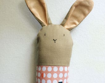 Brown and Pink Bunny Rattle - Soft Baby Toy