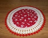 Valentine Doily Fabric Center Crocheted Edge Be Mine Valentine Cherubs Red Background Table Topper Dresser Scarf Gift 20 Inches Centerpiece