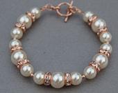 Ivory Pearl Rose Gold Bracelet, Bridal Jewelry, Brides Bracelet, Trending Jewelry, Bridesmaid Gifts, Romantic Wedding, Simple Bridal Jewelry