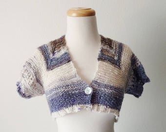 Geometric Shrug - Handspun Textured Handknit Shrug/Bolero in Brown, Cream, White, Blue - Cropped Spring Jacket - Wool, Mohair, Silk, Texture